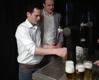 a well-deserved beer, freshly tapped by Wim