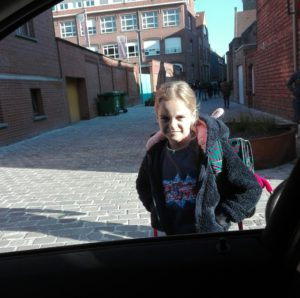 drop off my 8-year old daughter Sophie at school