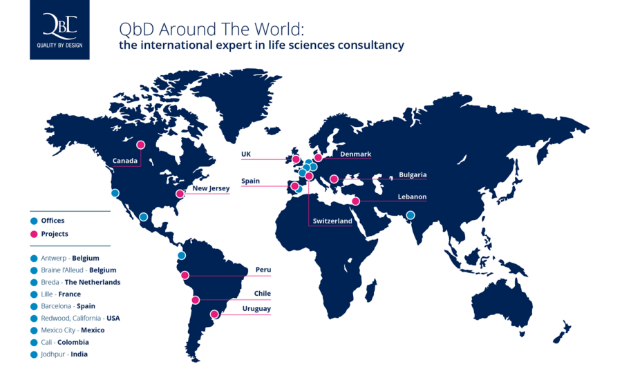 Qbd Around the world map QbD offices and projects