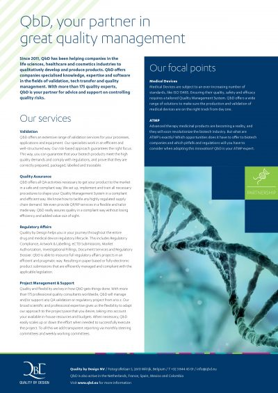 Flyer 'QbD, your partner in great quality management'