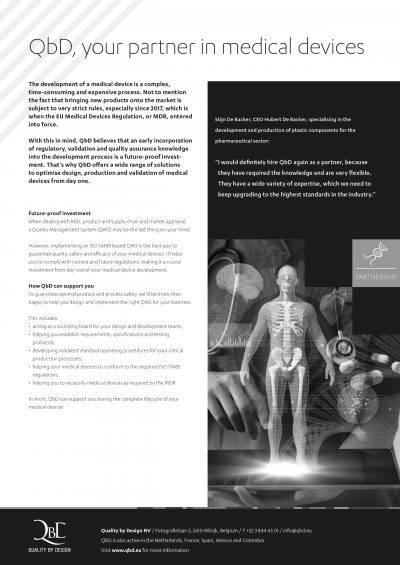 Flyer 'QbD, your partner in medical devices'
